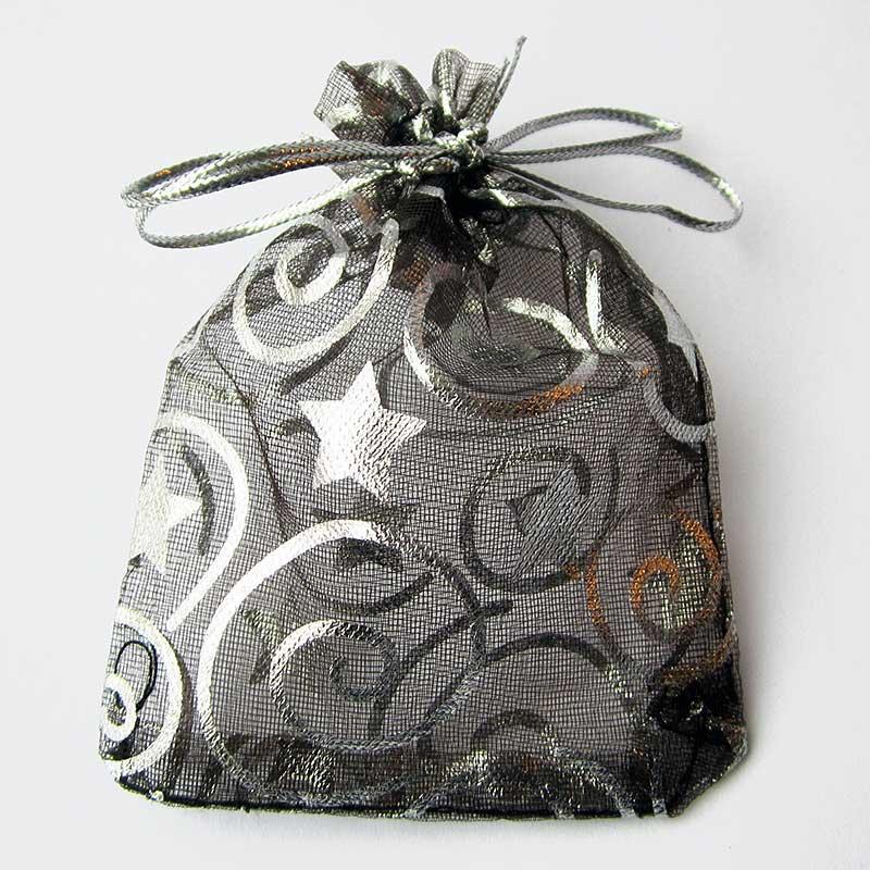 Kerst organza zakjes zwart met zilveren sterren