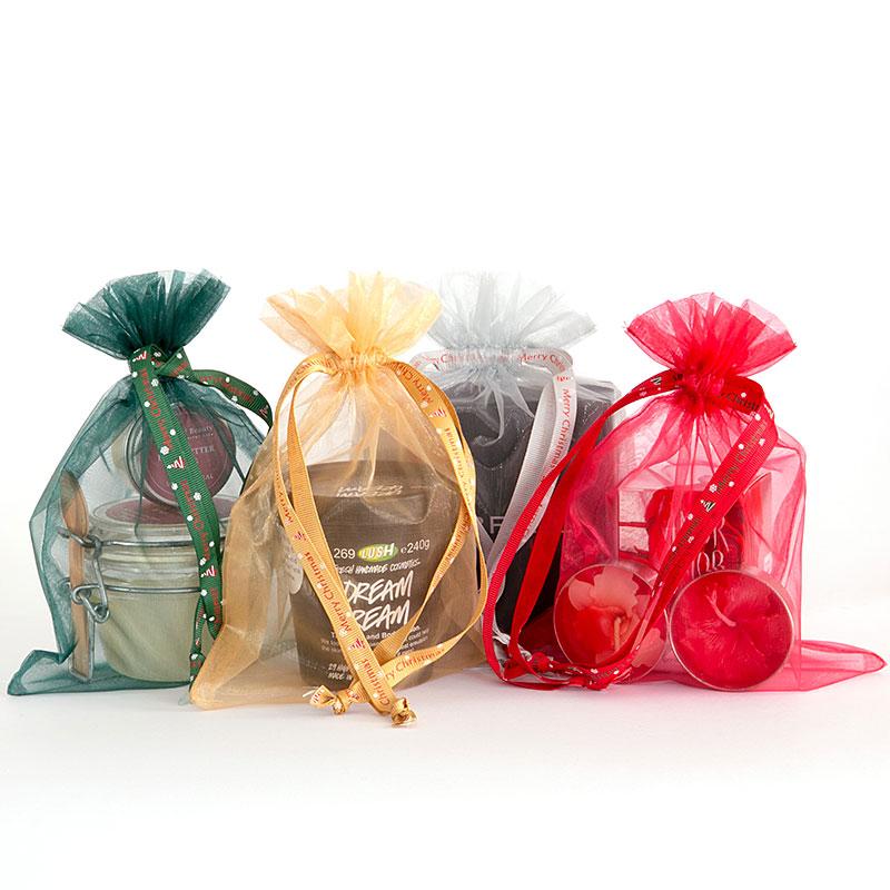 Organza zakjes maat 7 mix met Merry Christmas lintje