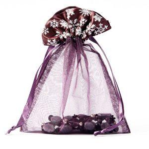 Organza zakjes met winterprint maat 6 aubergine