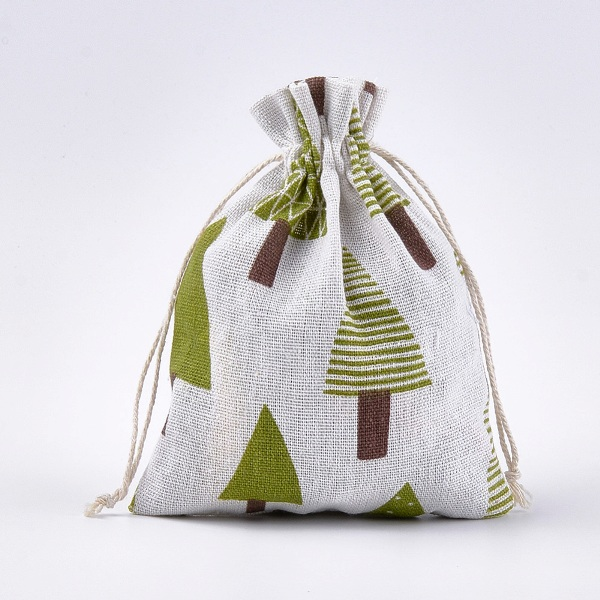 katoenen cadeau zakjes met groene bomen