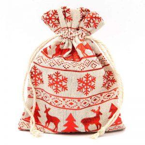 Katoenen zakjes met rode winterprint voor kerst