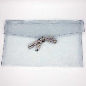 Organza Kerst cadeaubon envelop - zilver - rechthoekig