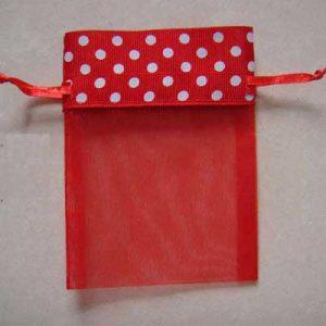 organza zakjes rood met witte stippen | Polka Dots