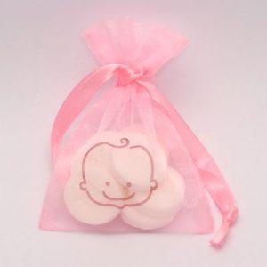 Doopsuiker organza verpakking babyhoofdje - Roze
