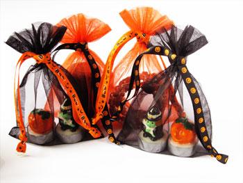 Organza zakjes Halloween - lintje met pompoenen