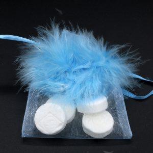 Organza zakje met veertjes - blauw