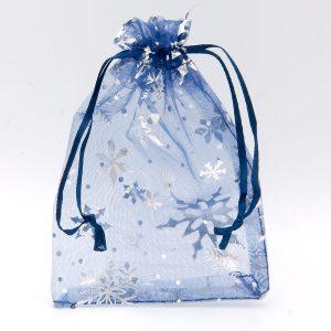 Organzazakjes sneeuwsterren blauw