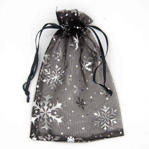 Organza zakjes zwart met sneeuwsterren. Type 2101