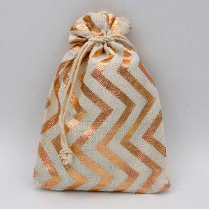 Katoenen zakjes met een metallic rosé goud zigzag patroon