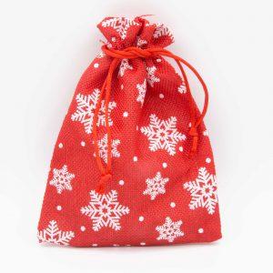 Rode katoenen zakjes met witte sneeuwvlok print